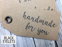 Load image into Gallery viewer, Custom Kraft Swing Tags. Double sided gift tags with or without metal eyelets.