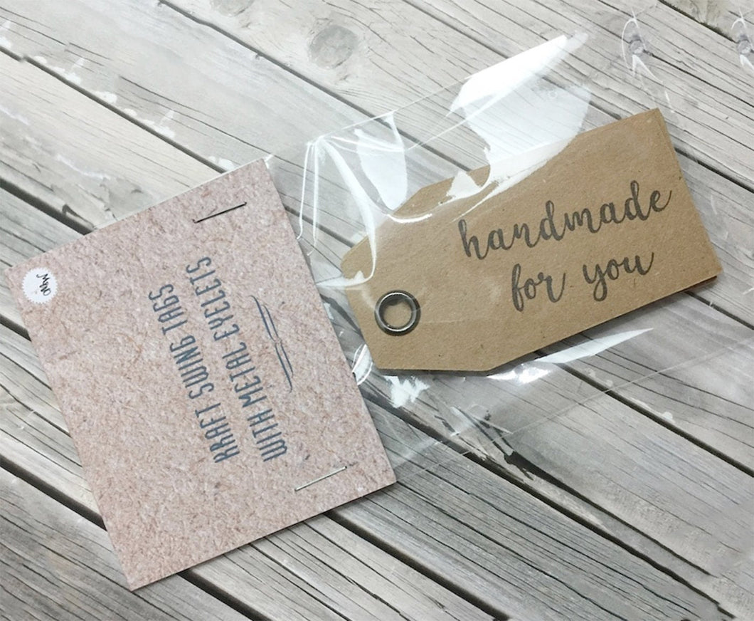 Kraft 'HANDMADE FOR YOU' Double Sided Swing Tags with Metal Eyelet.