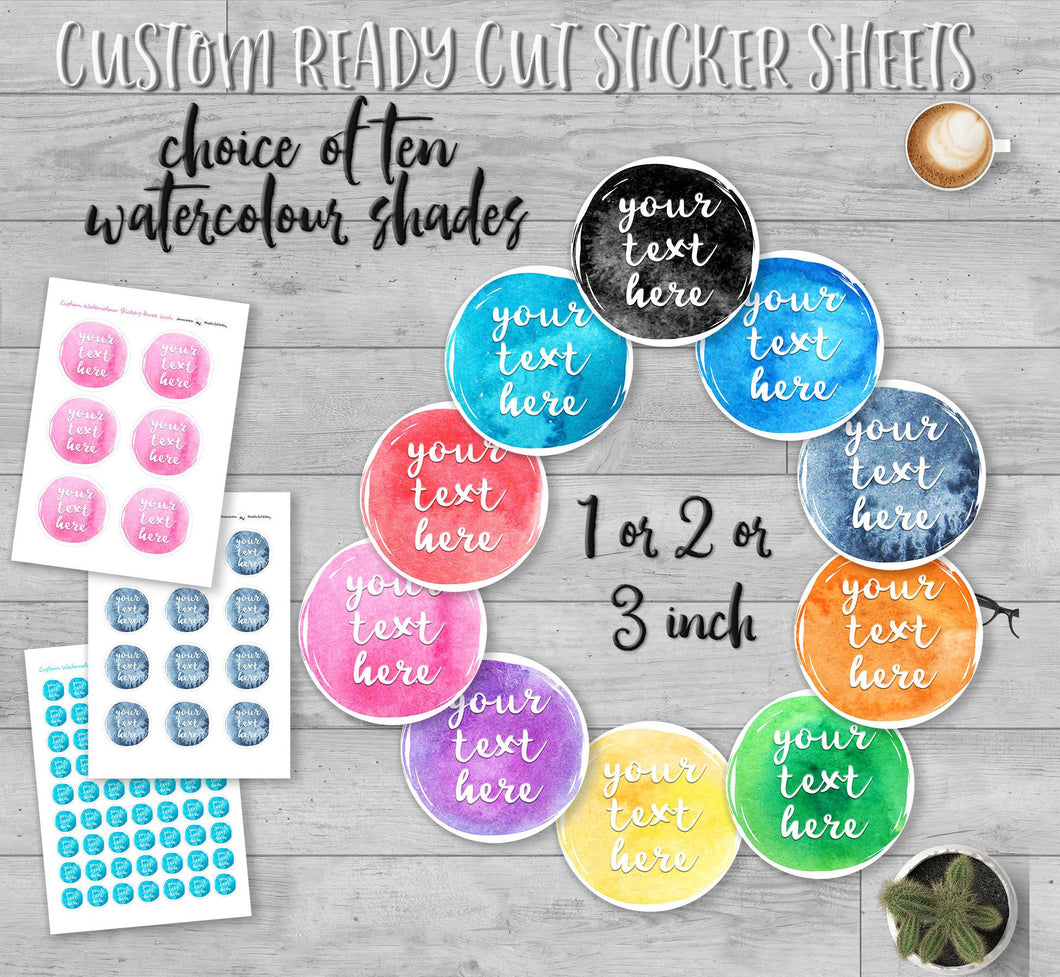 Custom Watercolour Round Text Stickers with colour choices. Custom Party Favor Labels with a star sprinkled border. Baby Shower Sticker Sheets.