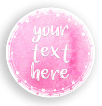 Load image into Gallery viewer, Custom Party Favor Labels | Custom Watercolour Stickers | Watercolour Round Text Stickers | Stickers for Party Bags | Circular Custom Labels