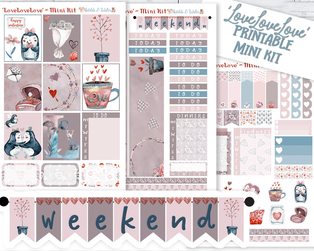 'LoveLoveLove' A printable Valentine planner stickers set, in gorgeous deep but muted shades.