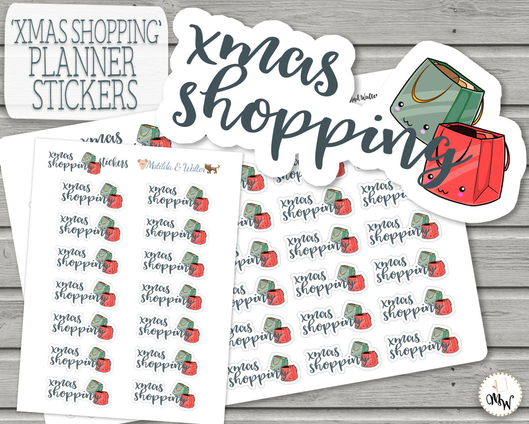 Christmas Shopping Planner Stickers | Kawaii Functional | BUJO Stickers | Kawaii Gift Shopping Script Stickers | Hobonichi Weeks Stickers