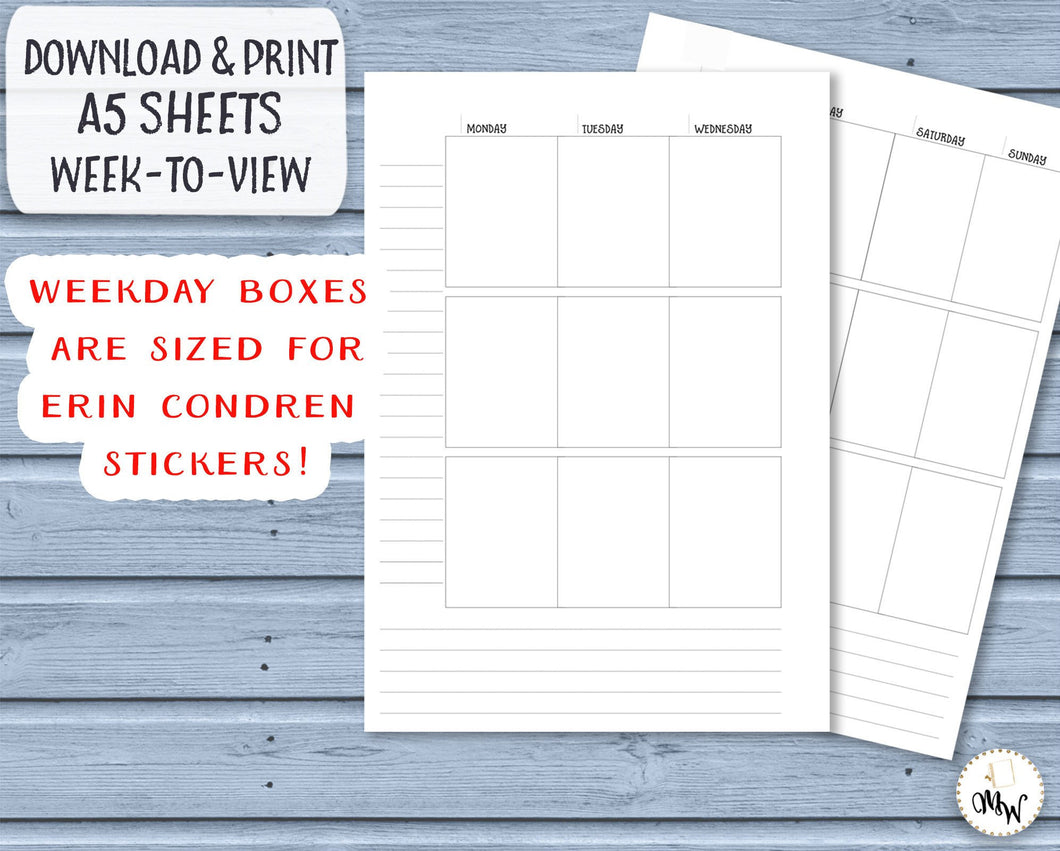A5 Week to View Printable Insert, with Erin Condren Lifeplanner sized boxes.
