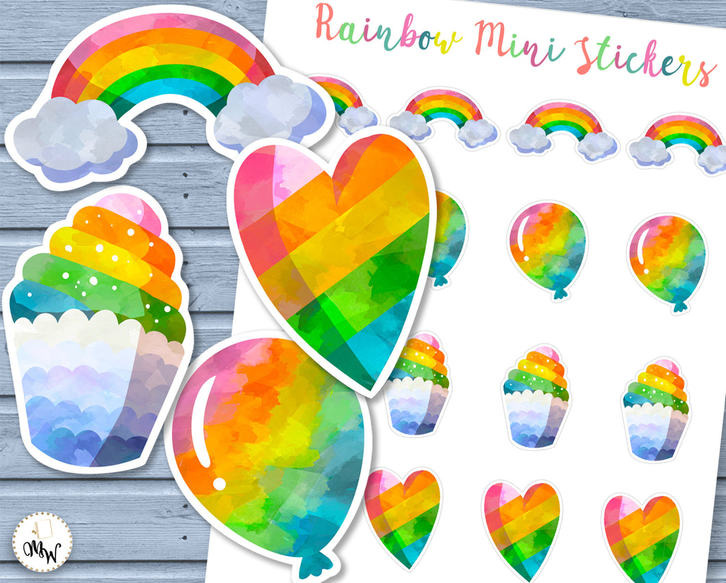 Rainbow Mini Stickers | Gorgeous mini stickers of Rainbows, Hearts, Balloons & Cupcakes