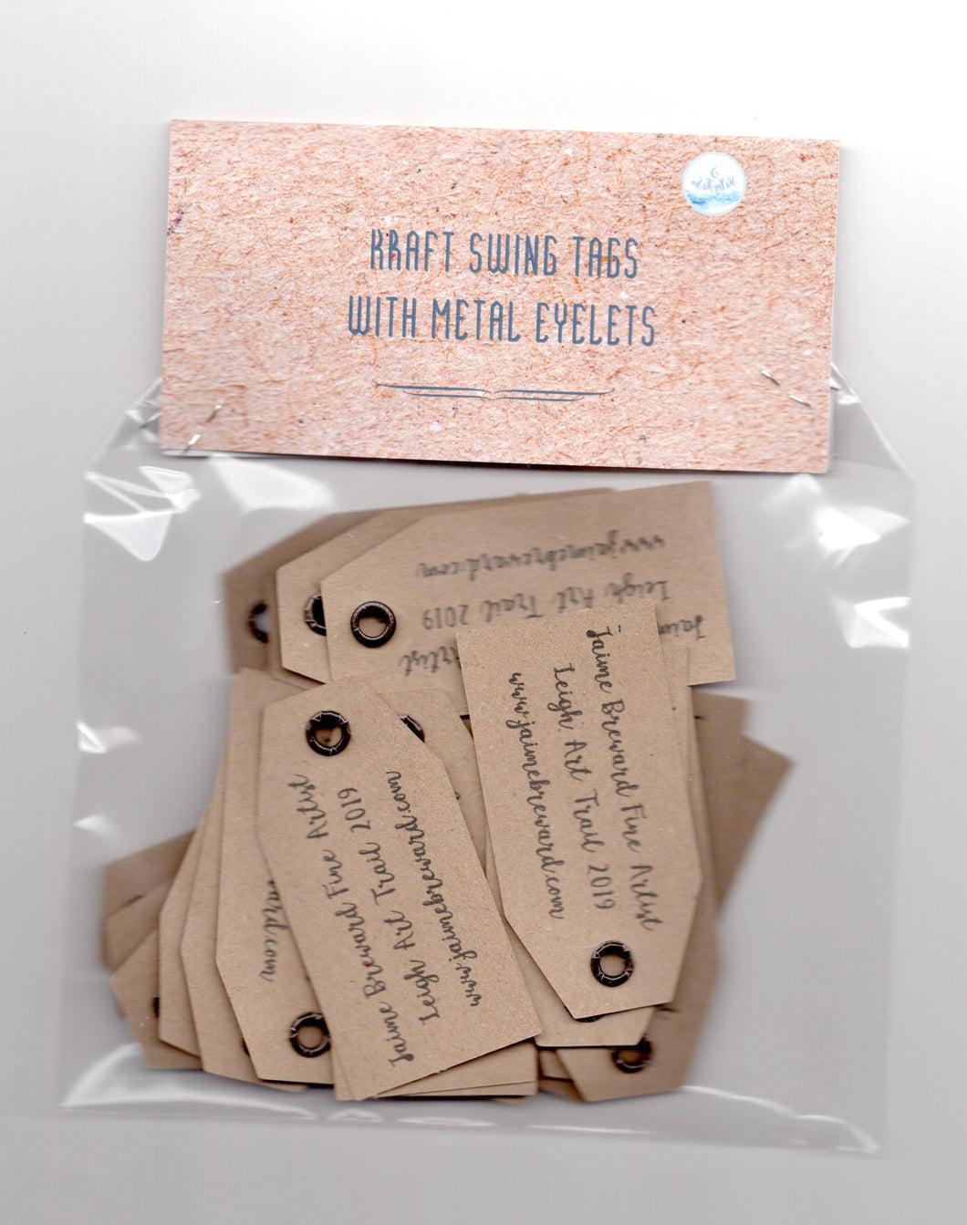 Custom Kraft Swing Tags. Double sided gift tags with or without metal eyelets.