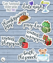 Load image into Gallery viewer, Christmas Shopping Planner Stickers | Kawaii Functional | BUJO Stickers | Kawaii Gift Shopping Script Stickers | Hobonichi Weeks Stickers