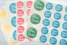 Load image into Gallery viewer, Custom Watercolour Round Text Stickers with colour choices. Custom Party Favor Labels with a star sprinkled border. Baby Shower Sticker Sheets.