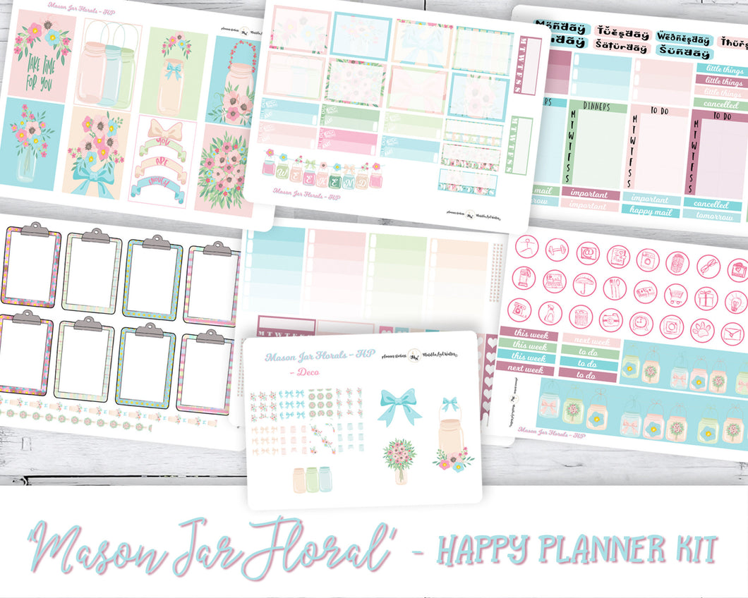 Weekly Sticker Kit to fit Happy Planner Classic | Pastel coloured florals, mason jars, and hand-doodled icons.