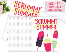 Load image into Gallery viewer, Colourful Summer Printable Planner Dashboards. A5 and B6 Sizes. Decorated with ice lollies in mint green, chocolate and shocking pink.