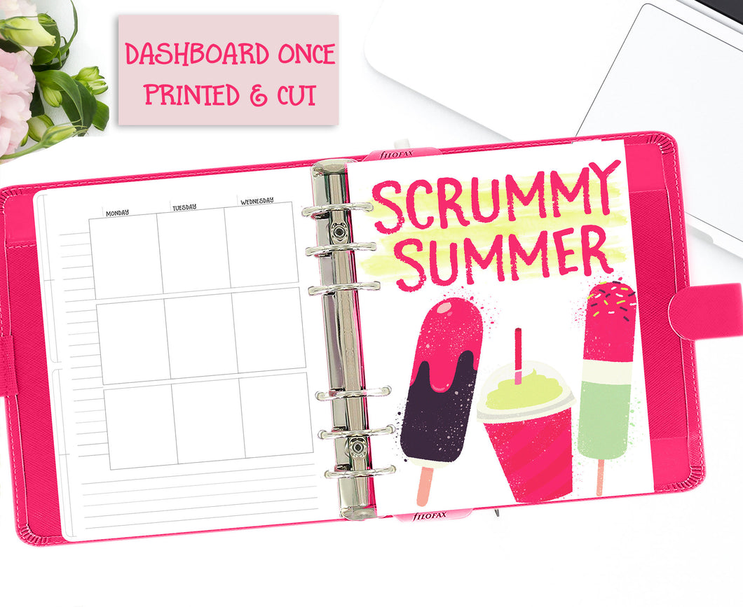Colourful Summer Printable Planner Dashboards. A5 and B6 Sizes. Decorated with ice lollies in mint green, chocolate and shocking pink.