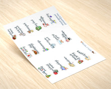 Load image into Gallery viewer, Assorted set of 19 Kawaii Handmade Stickers | Mini Meeting Planner Stickers | Cute BUJO Decor | Functional BUJO Deco