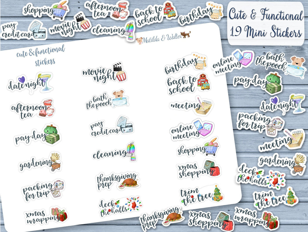 Assorted set of 19 Kawaii Handmade Stickers | Mini Meeting Planner Stickers | Cute BUJO Decor | Functional BUJO Deco
