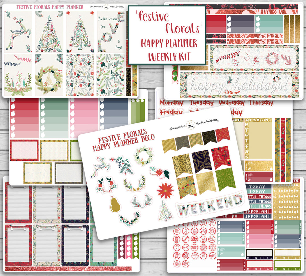 Christmas Kit for Happy Planner - FESTIVE FLORALS | Xmas Trees Holiday Mambi Sticker Kit | New Holiday Kit | Winter Theme Planner Stickers