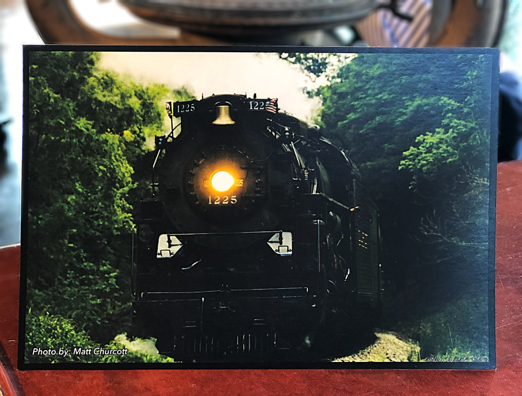 Oncoming Pere Marquette 1225 Postcard