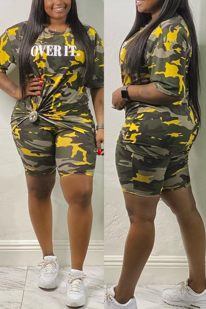 Fashion Casual adult Ma'am O Neck Letter Camouflage Two Piece Suits Stitching Plus Size