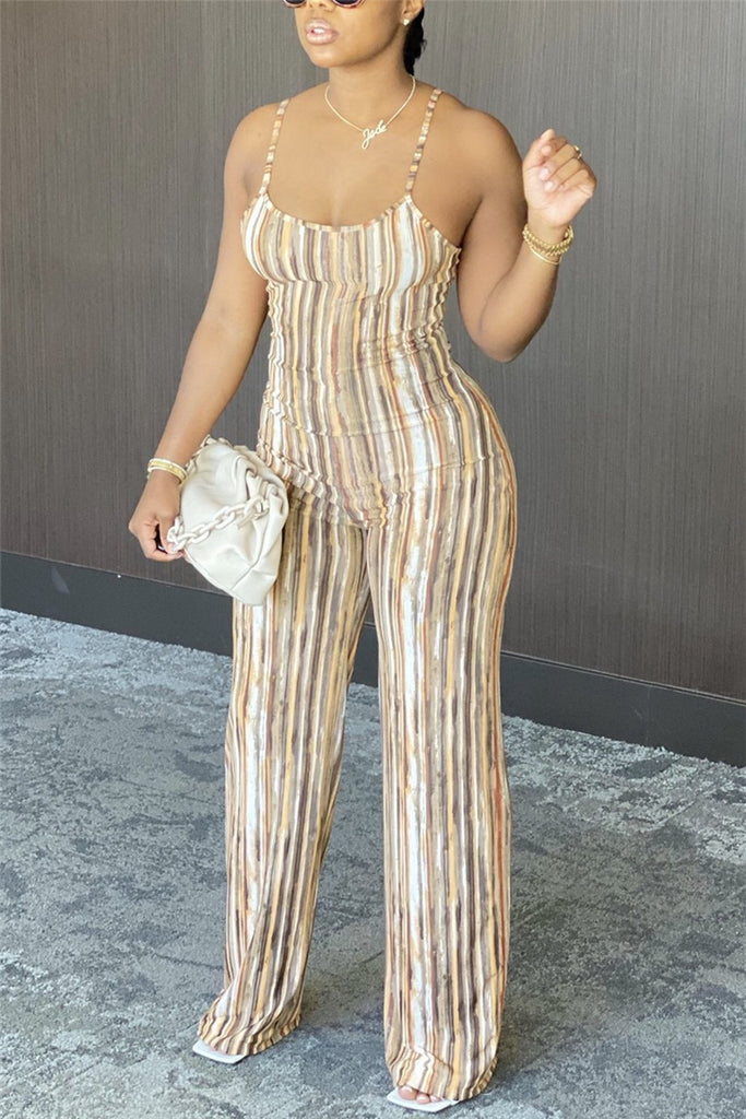 Sexy Striped Backless Polyester Sleeveless Slip Jumpsuits