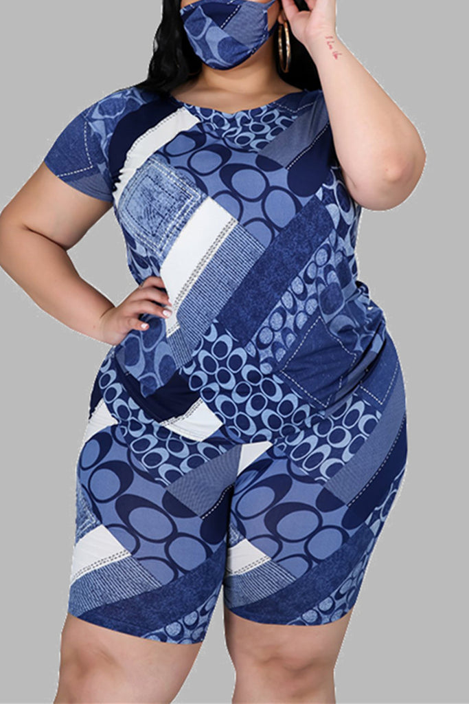 Fashion Casual Sportswear Living O Neck Short Sleeve Regular Sleeve Print Plus Size Set(With Mask)