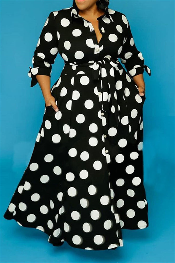 Polyester OL Turndown Collar A-Line Floor-Length Print Polka Dot Dresses