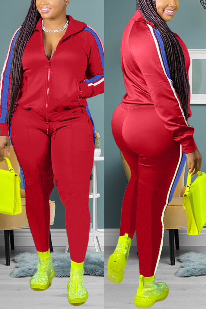 Fashion Casual Zipper Collar Long Sleeve Regular Sleeve Patchwork Plus Size Set