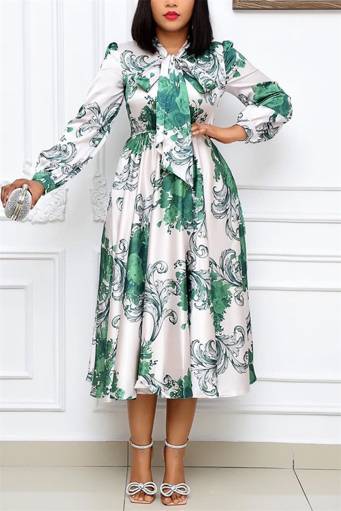 Fashion Casual Regular Sleeve Long Sleeve O Neck Printed Dress Mid Calf Print Dresses