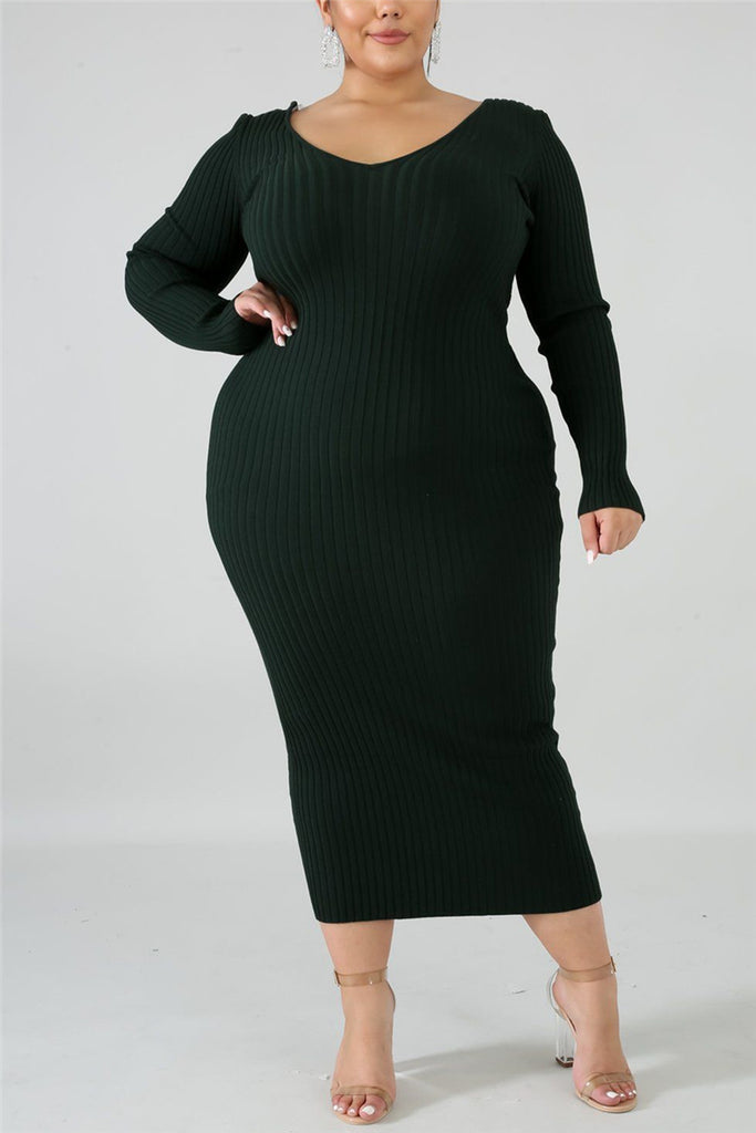 Fashion Casual O Neck Long Sleeve Regular Sleeve Solid Plus Size Dress(Without Belt)