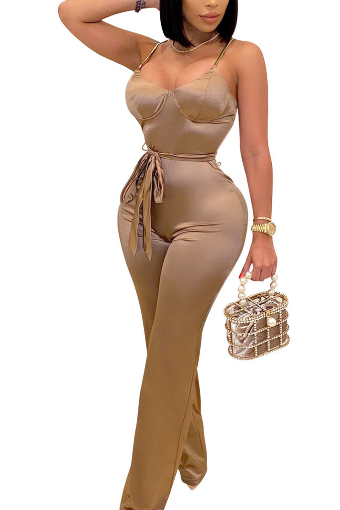 Daily Spandex Solid Bandage Backless Spaghetti Strap Regular Jumpsuits