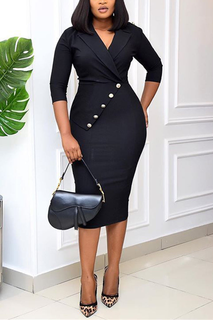 Fashion Casual Plus Size Solid Basic V Neck Pencil Dress