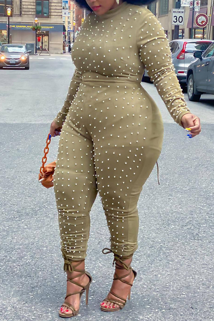 Fashion Casual Solid Beading O Neck Plus Size Jumpsuit
