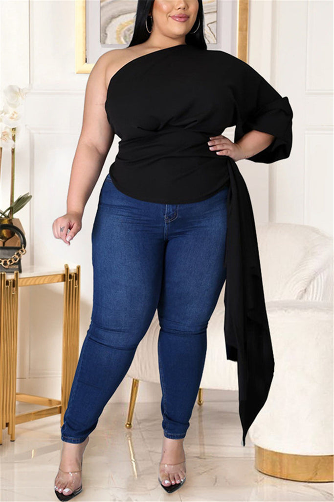 Fashion Sexy Solid Asymmetrical Oblique Collar Plus Size Tops