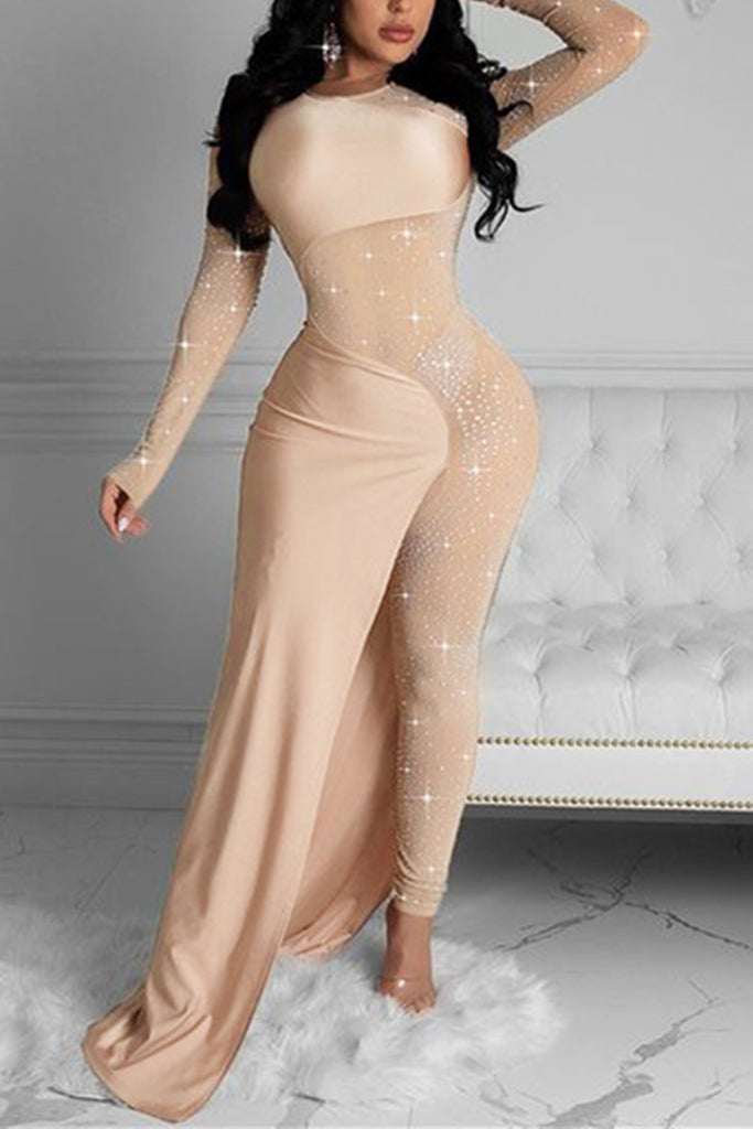 Fashion Sexy Patchwork See-through O Neck Skinny Jumpsuits
