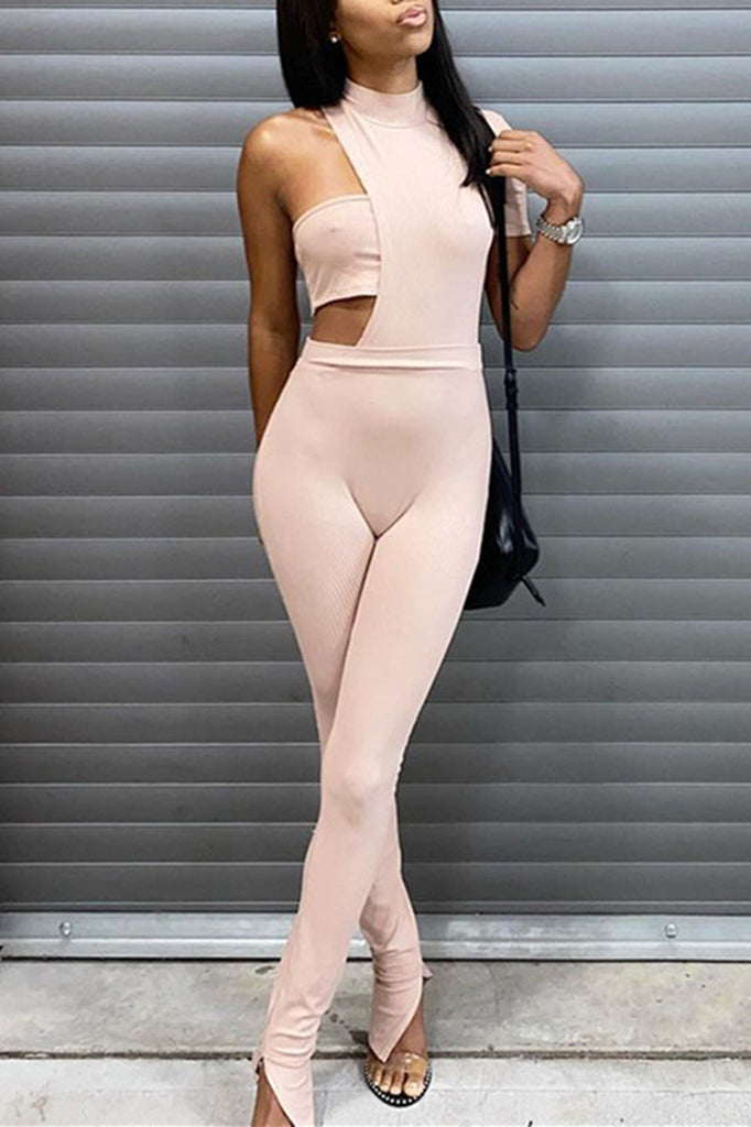 Sexy Casual Solid Hollowed Out Half A Turtleneck Skinny Jumpsuits