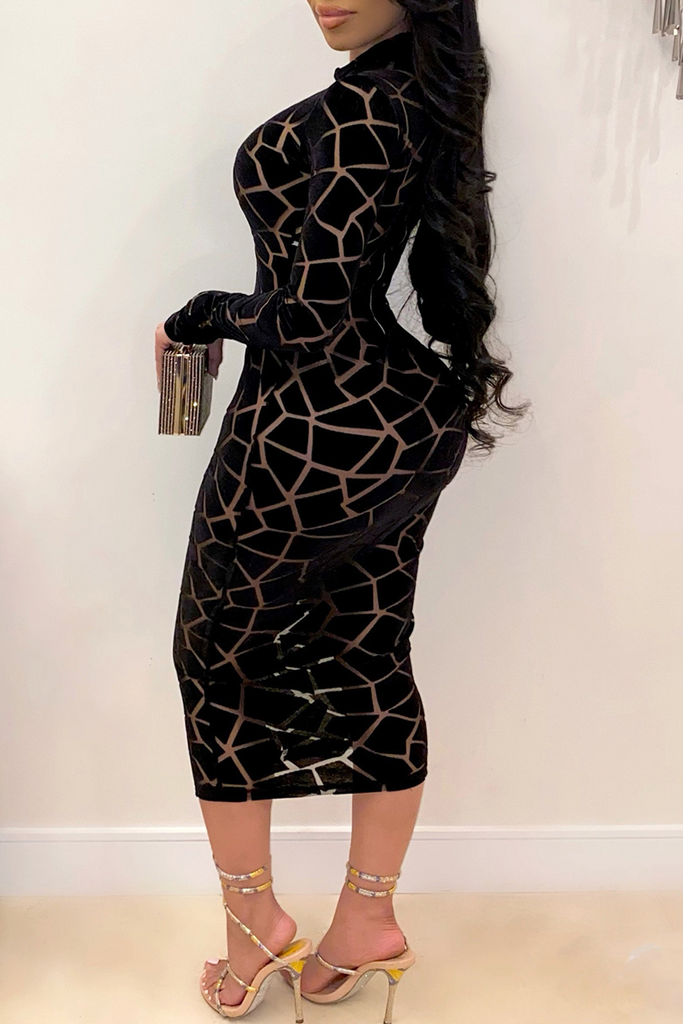 Sexy Print Split Joint Half A Turtleneck Pencil Skirt Dresses