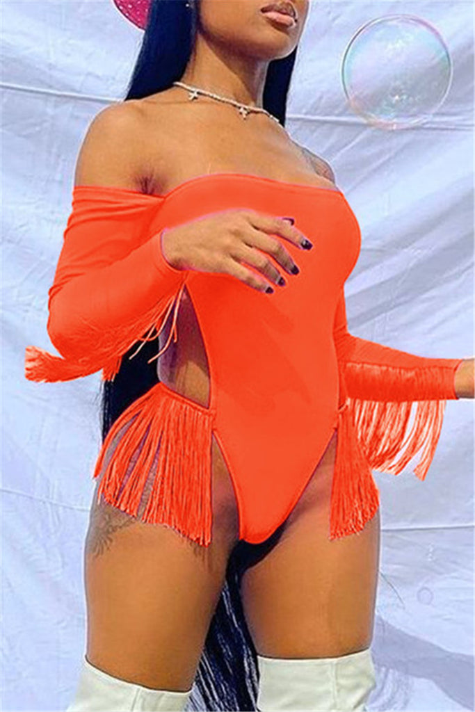 Fashion Sexy Solid Tassel Hollowed Out Swimwears