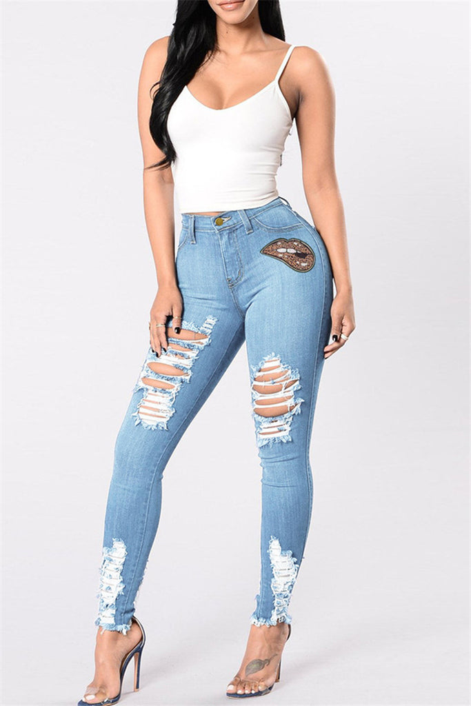 Fashion Casual Ripped High Waist Regular Jeans