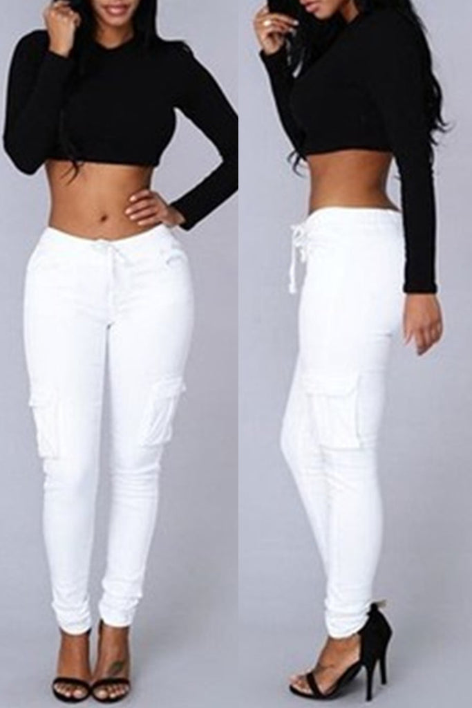 Fashion Casual Solid Basic Regular Mid Waist Trousers