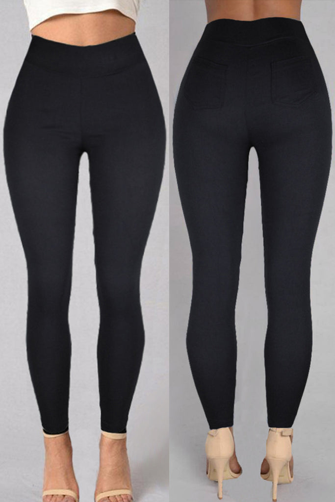 Fashion Casual Solid Basic Skinny High Waist Pencil Trousers
