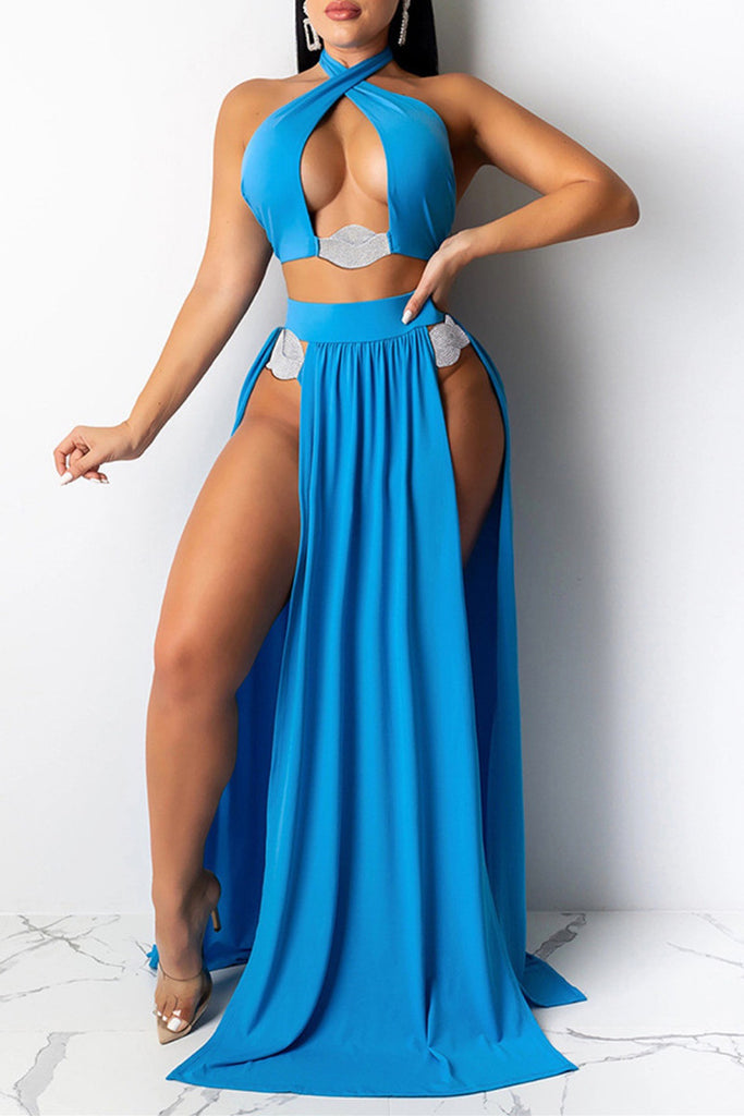 Fashion Sexy Solid Hollowed Out Swimwears Set