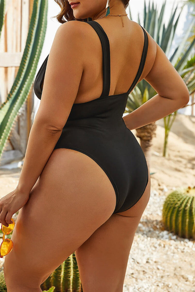 Fashion Sexy Solid Backless V Neck Plus Size Swimwear