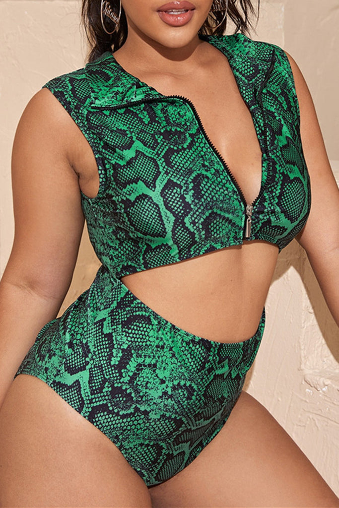 Fashion Sexy Print Basic Zipper Collar Plus Size Swimwear