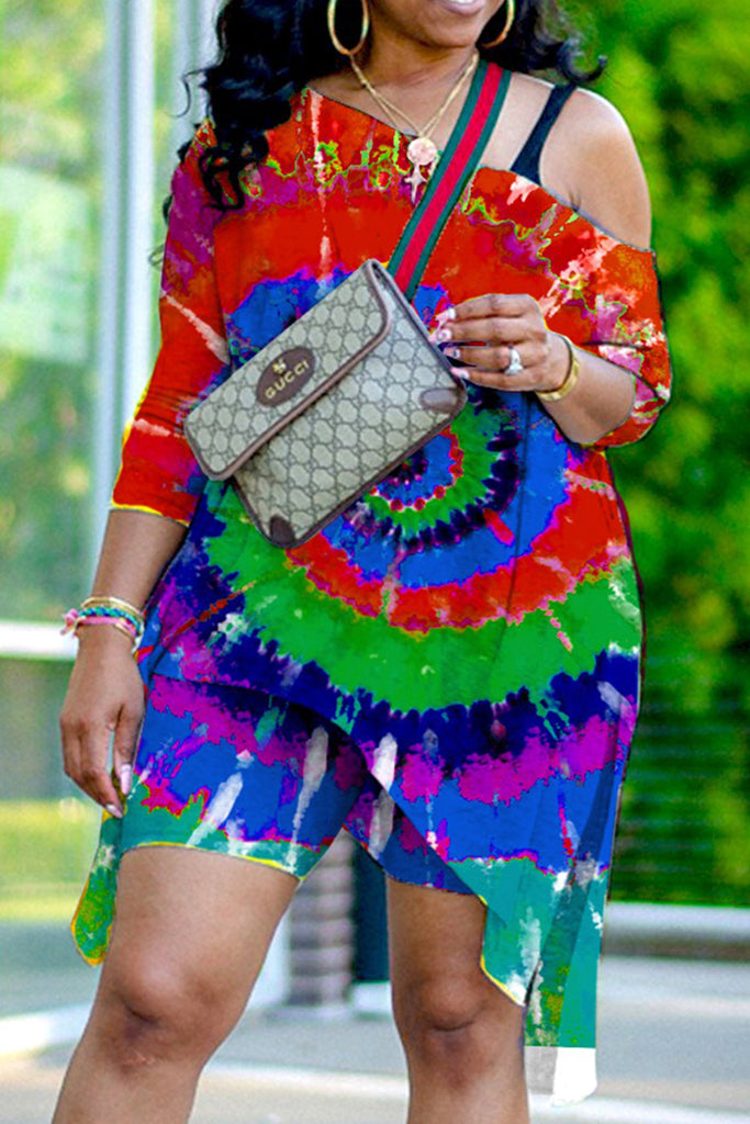 Sexy Patchwork Tie-dye One Shoulder Plus Size Two Pieces Sets