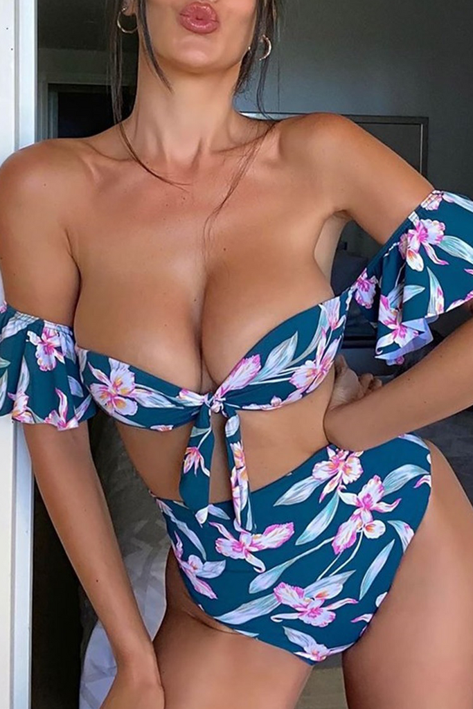 Sexy Print Split Joint Off the Shoulder Plus Size Swimwear