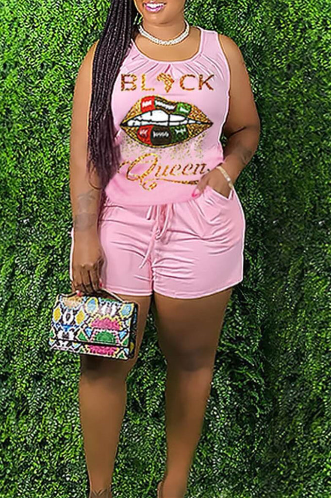 Fashion Casual Letter Lips Printed Basic O Neck Plus Size Two Pieces