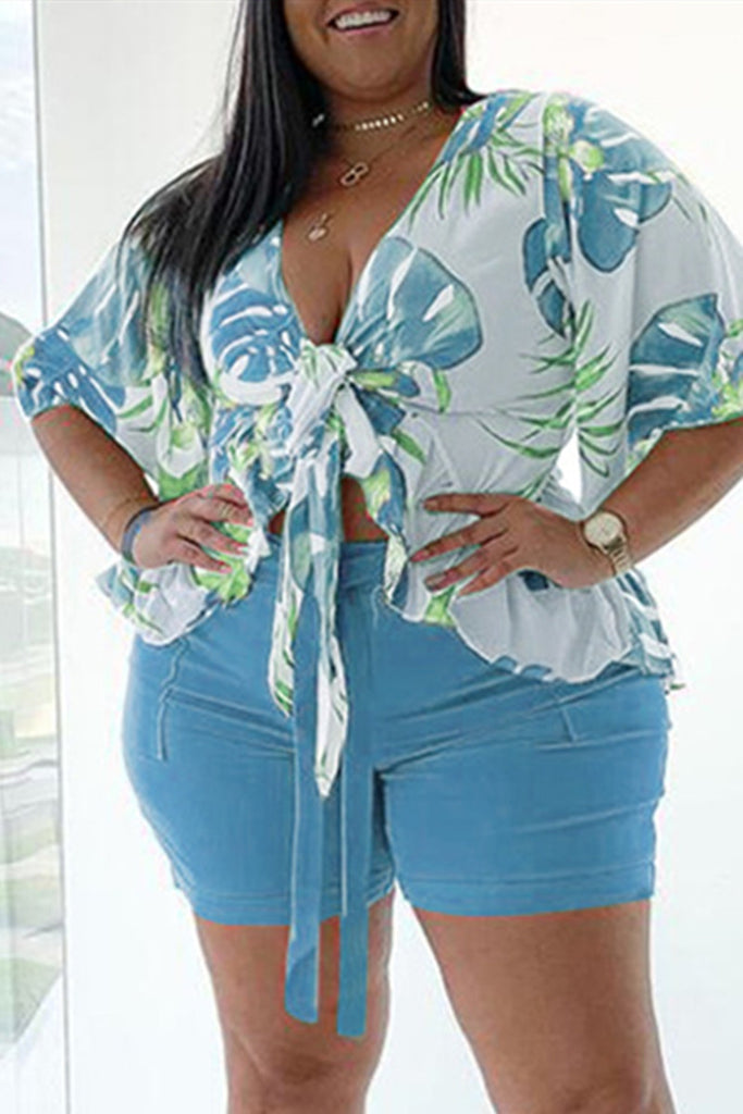 Fashion Casual Print Basic V Neck Plus Size Two Pieces