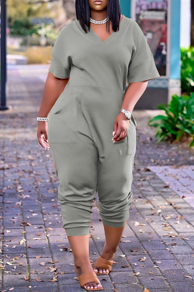 Fashion Casual Solid Basic V Neck Plus Size Jumpsuits
