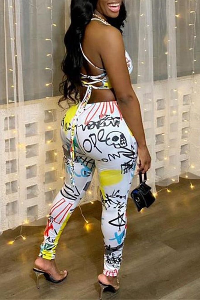 Fashion Sexy Print Backless Strap Design Spaghetti Strap Skinny Jumpsuits