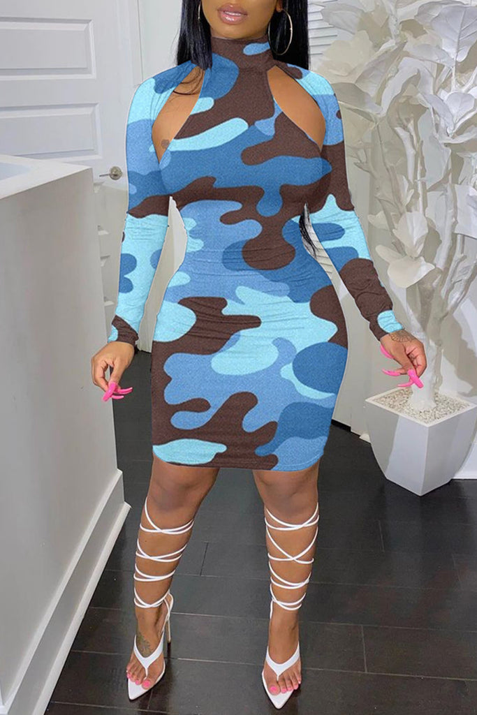 Fashion Sexy Camouflage Print Hollowed Out Turtleneck Long Sleeve Dresses