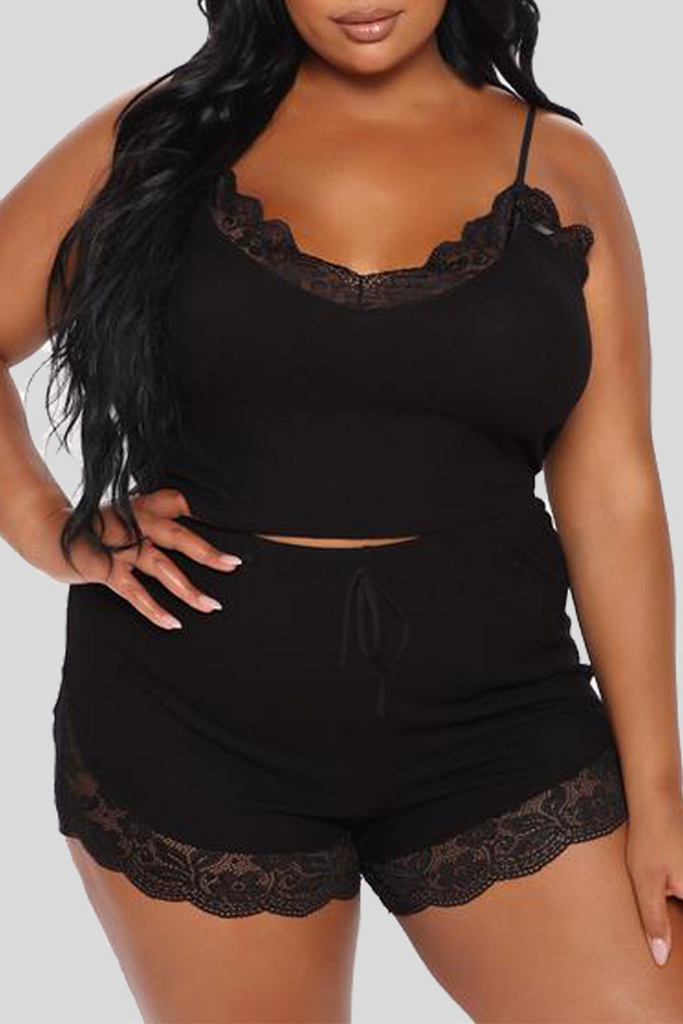 Sexy Solid Split Joint Spaghetti Strap Plus Size Two Pieces