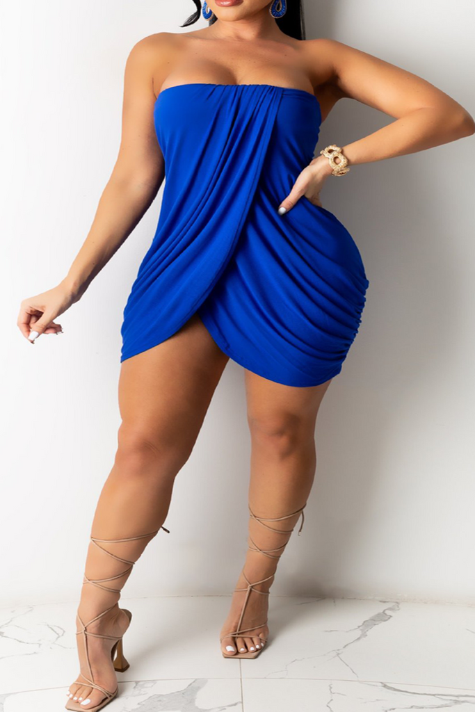 Sexy Solid Split Joint Strapless Irregular Dress Plus Size Dresses