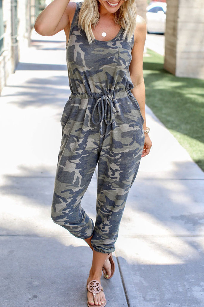 Fashion Casual Camouflage Print Frenulum O Neck Regular Jumpsuits