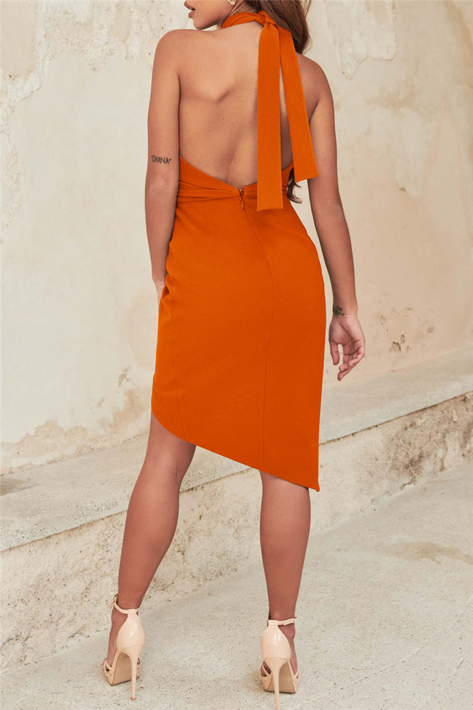 Fashion Sexy Solid Backless Half A Turtleneck Sleeveless Dress